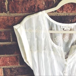American Eagle Outfitters Dresses - { AMERICAN EAGLE } Cream Cotton Dress/Cover Up